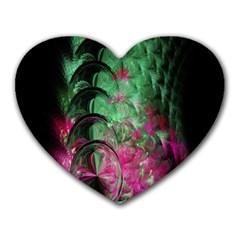 Pink And Green Shapes Make A Pretty Fractal Image Heart Mousepads by Simbadda