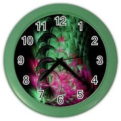 Pink And Green Shapes Make A Pretty Fractal Image Color Wall Clocks by Simbadda