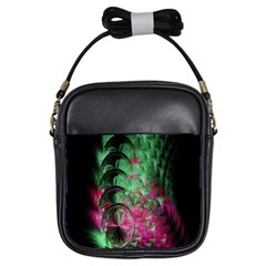 Pink And Green Shapes Make A Pretty Fractal Image Girls Sling Bags by Simbadda