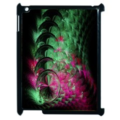 Pink And Green Shapes Make A Pretty Fractal Image Apple Ipad 2 Case (black) by Simbadda