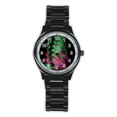 Pink And Green Shapes Make A Pretty Fractal Image Stainless Steel Round Watch by Simbadda