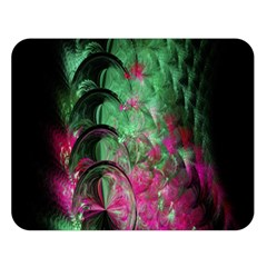 Pink And Green Shapes Make A Pretty Fractal Image Double Sided Flano Blanket (large)  by Simbadda
