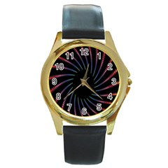 Fractal Black Hole Computer Digital Graphic Round Gold Metal Watch by Simbadda