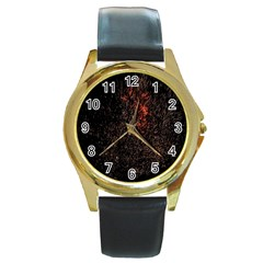 July 4th Fireworks Party Round Gold Metal Watch by Simbadda