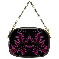 Violet Fractal On Black Background In 3d Glass Frame Chain Purses (two Sides)  by Simbadda