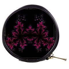 Violet Fractal On Black Background In 3d Glass Frame Mini Makeup Bags by Simbadda