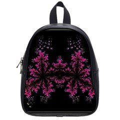 Violet Fractal On Black Background In 3d Glass Frame School Bags (small)  by Simbadda