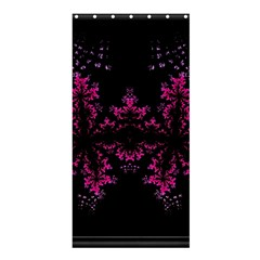Violet Fractal On Black Background In 3d Glass Frame Shower Curtain 36  X 72  (stall)  by Simbadda