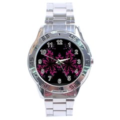 Violet Fractal On Black Background In 3d Glass Frame Stainless Steel Analogue Watch by Simbadda