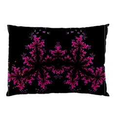 Violet Fractal On Black Background In 3d Glass Frame Pillow Case (two Sides) by Simbadda