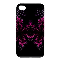 Violet Fractal On Black Background In 3d Glass Frame Apple Iphone 4/4s Hardshell Case by Simbadda