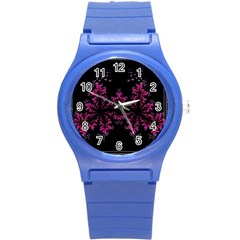 Violet Fractal On Black Background In 3d Glass Frame Round Plastic Sport Watch (s) by Simbadda