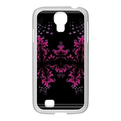 Violet Fractal On Black Background In 3d Glass Frame Samsung Galaxy S4 I9500/ I9505 Case (white) by Simbadda
