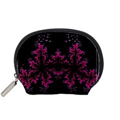 Violet Fractal On Black Background In 3d Glass Frame Accessory Pouches (small)  by Simbadda