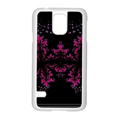 Violet Fractal On Black Background In 3d Glass Frame Samsung Galaxy S5 Case (white) by Simbadda