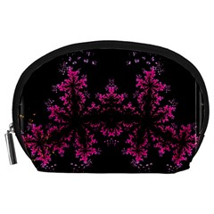 Violet Fractal On Black Background In 3d Glass Frame Accessory Pouches (large)  by Simbadda