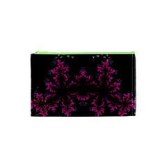 Violet Fractal On Black Background In 3d Glass Frame Cosmetic Bag (xs) by Simbadda