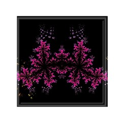 Violet Fractal On Black Background In 3d Glass Frame Small Satin Scarf (square) by Simbadda