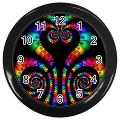 Fractal Drawing Of Phoenix Spirals Wall Clocks (black) by Simbadda