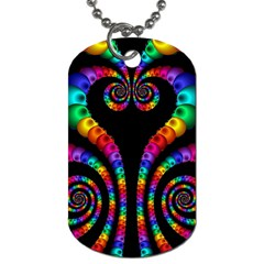 Fractal Drawing Of Phoenix Spirals Dog Tag (one Side) by Simbadda