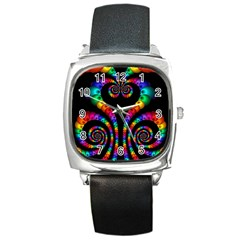 Fractal Drawing Of Phoenix Spirals Square Metal Watch by Simbadda
