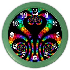 Fractal Drawing Of Phoenix Spirals Color Wall Clocks by Simbadda