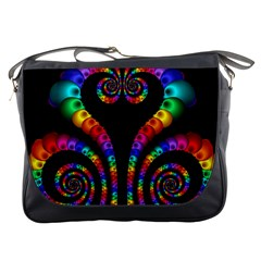 Fractal Drawing Of Phoenix Spirals Messenger Bags by Simbadda