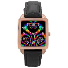 Fractal Drawing Of Phoenix Spirals Rose Gold Leather Watch  by Simbadda