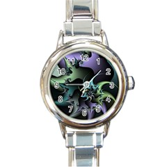 Fractal Image With Sharp Wheels Round Italian Charm Watch by Simbadda