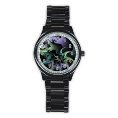 Fractal Image With Sharp Wheels Stainless Steel Round Watch by Simbadda