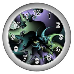 Fractal Image With Sharp Wheels Wall Clocks (silver)  by Simbadda