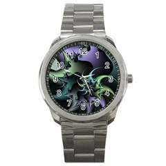 Fractal Image With Sharp Wheels Sport Metal Watch by Simbadda