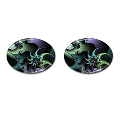 Fractal Image With Sharp Wheels Cufflinks (oval) by Simbadda