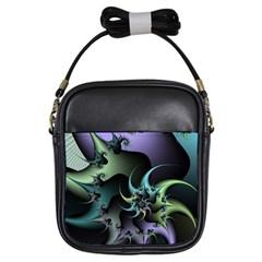 Fractal Image With Sharp Wheels Girls Sling Bags by Simbadda