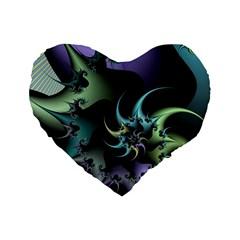 Fractal Image With Sharp Wheels Standard 16  Premium Flano Heart Shape Cushions by Simbadda