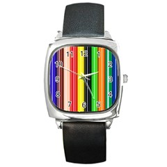 Stripes Colorful Striped Background Wallpaper Pattern Square Metal Watch by Simbadda