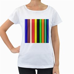 Stripes Colorful Striped Background Wallpaper Pattern Women s Loose-Fit T-Shirt (White) by Simbadda