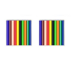 Stripes Colorful Striped Background Wallpaper Pattern Cufflinks (square) by Simbadda
