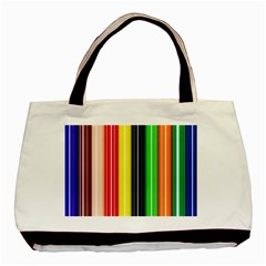Stripes Colorful Striped Background Wallpaper Pattern Basic Tote Bag by Simbadda