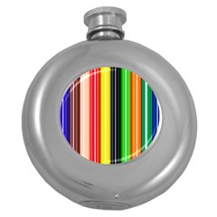 Stripes Colorful Striped Background Wallpaper Pattern Round Hip Flask (5 Oz) by Simbadda