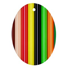 Stripes Colorful Striped Background Wallpaper Pattern Oval Ornament (two Sides) by Simbadda