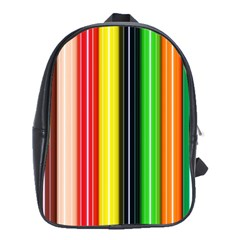 Stripes Colorful Striped Background Wallpaper Pattern School Bags(large)  by Simbadda