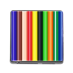 Stripes Colorful Striped Background Wallpaper Pattern Memory Card Reader (square) by Simbadda