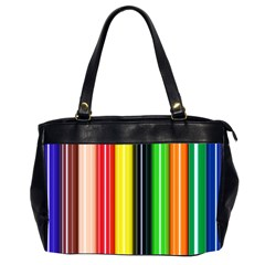 Stripes Colorful Striped Background Wallpaper Pattern Office Handbags (2 Sides)  by Simbadda