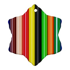 Stripes Colorful Striped Background Wallpaper Pattern Snowflake Ornament (two Sides) by Simbadda