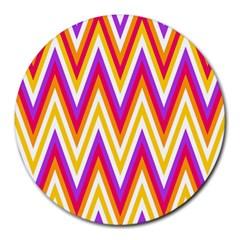 Colorful Chevrons Zigzag Pattern Seamless Round Mousepads by Simbadda
