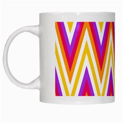 Colorful Chevrons Zigzag Pattern Seamless White Mugs by Simbadda