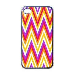 Colorful Chevrons Zigzag Pattern Seamless Apple Iphone 4 Case (black) by Simbadda