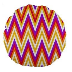 Colorful Chevrons Zigzag Pattern Seamless Large 18  Premium Round Cushions by Simbadda