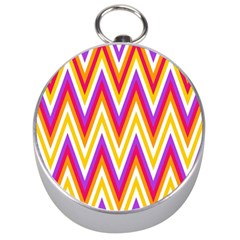 Colorful Chevrons Zigzag Pattern Seamless Silver Compasses by Simbadda